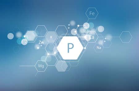 Phosphore et autres minéraux essentiels pour la santé humaine. Composition abstraite dans un style moderne. Recherche scientifique, médecine. Désignation schématique du phosphore.