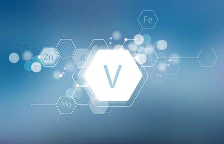 Vanadium. Minerals for human health. Structural schematic diagram on a blurred background. Conditional image of Vanadium. Иллюстрация