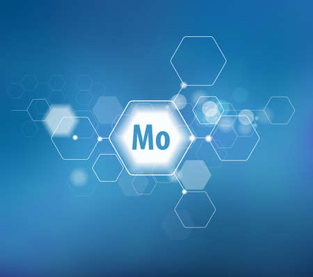 Molybdenum. Abstract template for structural diagram. Blue background.