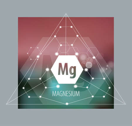 Magnesium. Abstract drawing in modern style. Polygonal element on blurred background. Scientific research, medicine. Illustration
