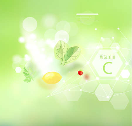 Vitamin C on an abstract background. Natural organic foods high in vitamin C.