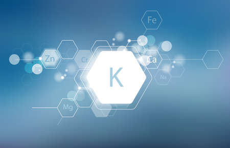 Potassium. Minerals for human health. Structural schematic diagram on a blurred