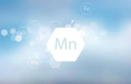 Mangan. Abstrakte Komposition mit der wissenschaftlichen Bezeichnung des Spurenelements auf unscharfem Hintergrund. Medizinische Forschung