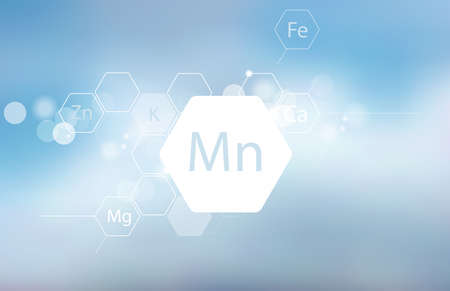 Manganese. Abstract composition with the scientific designation of the trace element on a blurred background. Medical research