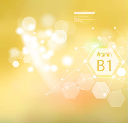 Vitamin B1 on an abstract background. Basics of a healthy diet. Medical vitamin B1 designation.