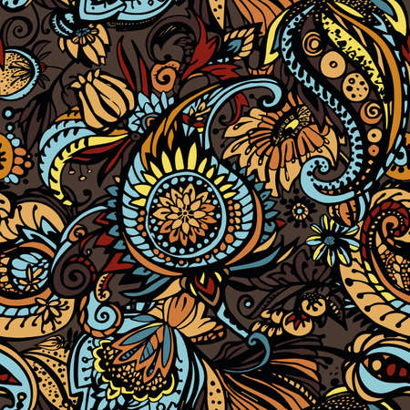 Paisley. Seamless floral pattern with oriental paisley or buta ornament. Textile Illustration