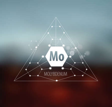 Molybdenum. Abstract drawing in modern style. Polygonal element on blurred background. Scientific research, medicine.