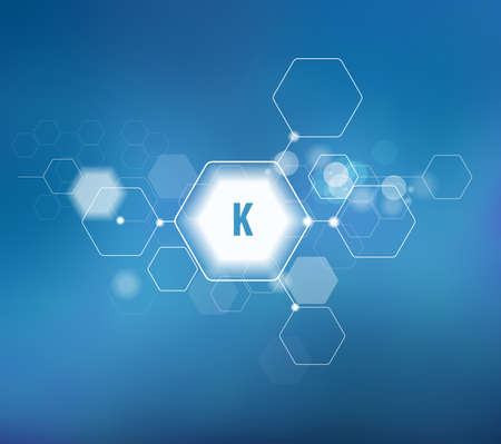 Potassium. Abstract template for structural diagram. Blue background.