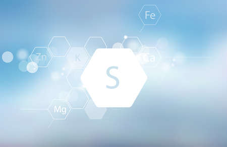 Sulfur. Abstract composition with the scientific designation of the trace element on a blurred background. Medical research Banco de Imagens - 129768081
