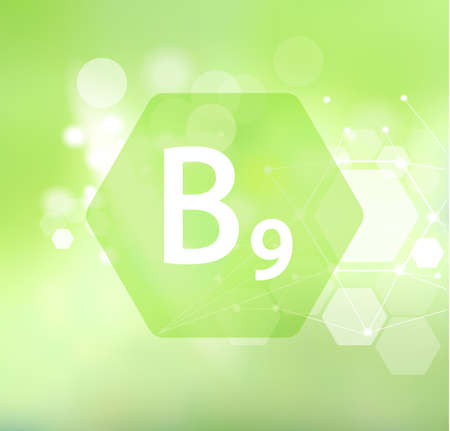 Vitamin B9. Abstract green background. Basics of healthy eating and diet. Иллюстрация