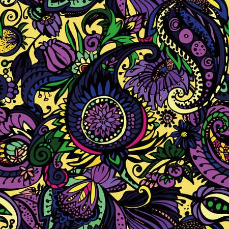 Paisley. Seamless floral pattern with oriental paisley or buta ornament. Banque d'images - 127391573