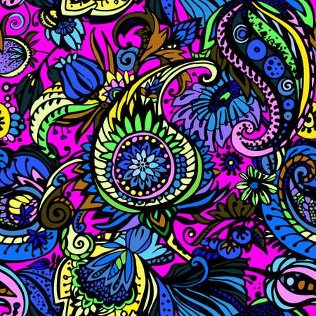 Paisley. Seamless floral pattern with oriental paisley or buta ornament. Textile Ilustração