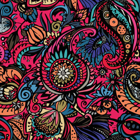 Paisley. Seamless floral pattern with oriental paisley or buta ornament.