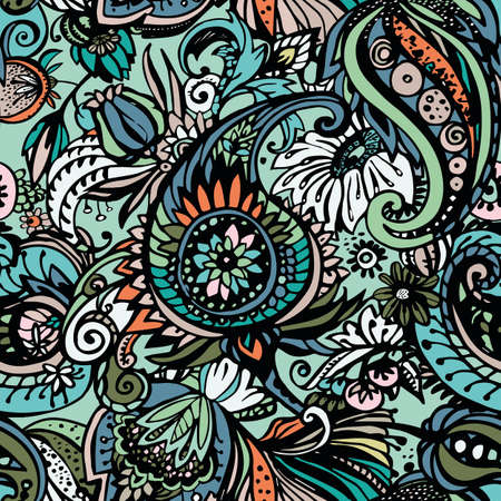 Paisley. Seamless floral pattern with oriental paisley or buta ornament. Vecteurs