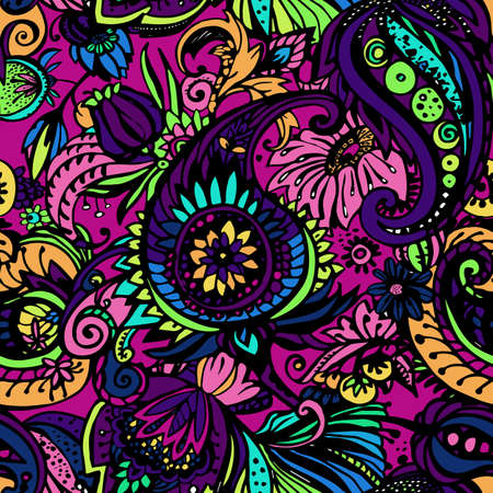 Paisley. Seamless floral pattern with oriental paisley or buta ornament. Textile Иллюстрация