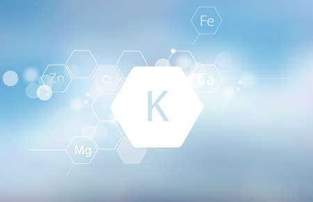 Potassium. Abstract composition with the scientific designation of the trace element on a blurred background. Medical research Illustration