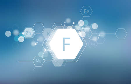 Fluorine. Minerals for human health. Structural schematic diagram on a blurred background. Conditional image of Fluorine.