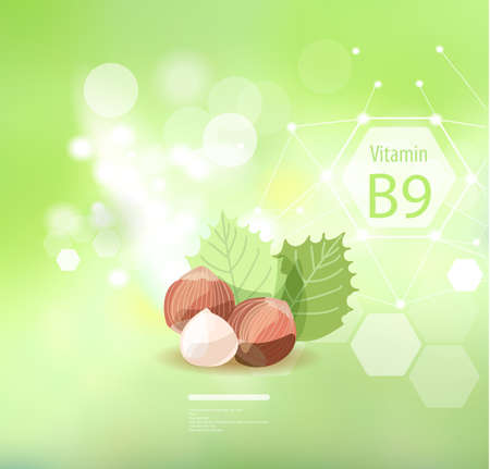 Vitamin on an abstract background. Basics of a healthy diet. Hazelnuts are high in vitamin B9. Çizim