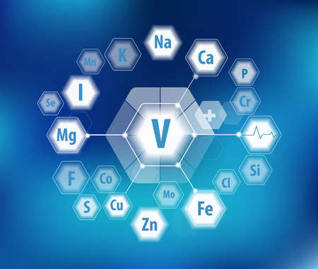 Vanadium and all minerals for human health. Pie diagram. Basics of healthy eating