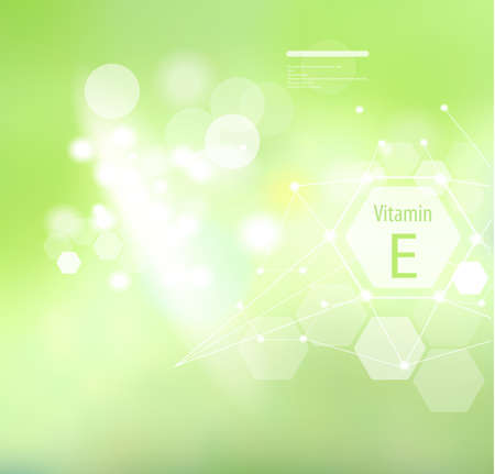 Vitamin E on an abstract background. Basics of a healthy diet. Medical vitamin E designation.