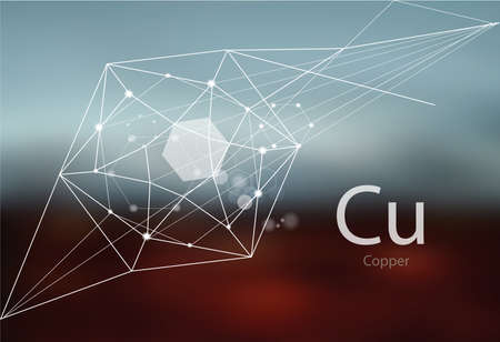 Copper. A series of trace elements. Modern style, abstract background with polygonal elements. Science, research, medicine, technogenic direction.