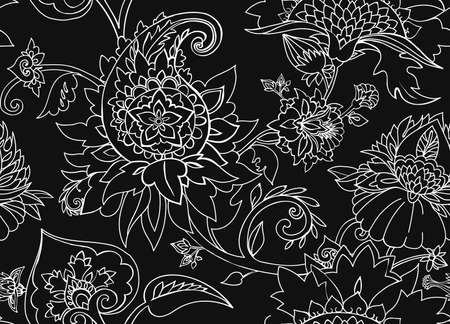 Traditional pattern in vintage oriental paisley style