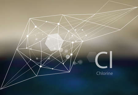 Chlorine. A series of trace elements. Modern style, abstract background with polygonal elements. Science, research, medicine, technogenic direction. Stockfoto - 128284656