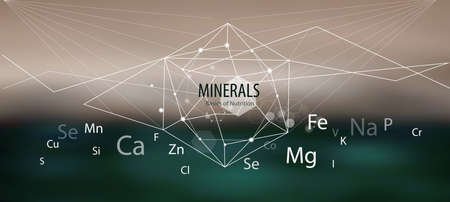 Minerals  Modern scientific research. Abstract structural network. The future is science. Chemistry, physics, medicine.  イラスト・ベクター素材