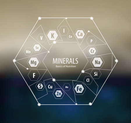 Minerals  Modern scientific research. Abstract structural network. The future is science. Chemistry, physics, medicine. Иллюстрация