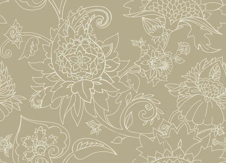 Traditional pattern in vintage oriental paisley style.
