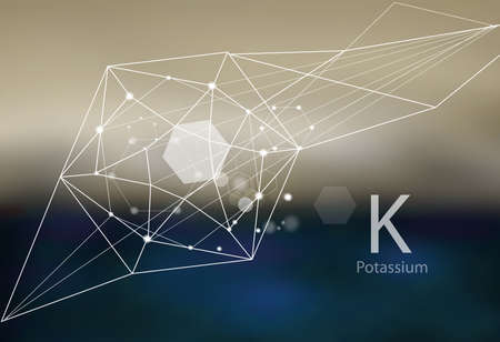 Potassium. A series of trace elements. Modern style, abstract  with polygonal elements Illustration