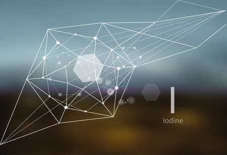 Iodine. A series of trace elements. Modern style, abstract background with polygonal elements. Science, research, medicine, technogenic direction.