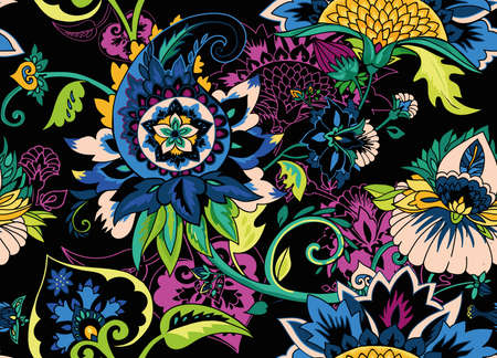 Paisley. Seamless Textile floral pattern with oriental paisley or buta ornament.  向量圖像