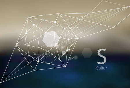 Sulfur. A series of trace elements. Modern style, abstract background with polygonal elements. Science, research, medicine, technogenic direction.  イラスト・ベクター素材