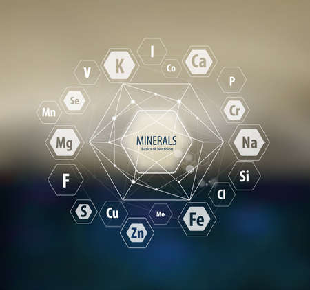 Minerals / Modern scientific research. Abstract structural network. The future is science. Chemistry, physics, medicine. Illustration