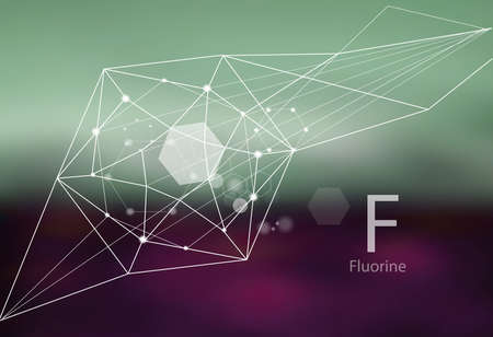 Fluorine. A series of trace elements. Modern style, abstract background with polygonal elements. Science, research, medicine, technogenic direction.