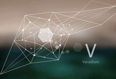 Vanadium. A series of trace elements. Modern style, abstract background with polygonal elements. Science, research, medicine, technogenic direction.