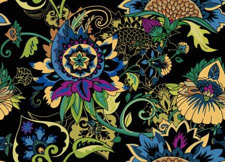 Cachemire. Motif floral textile sans couture avec ornement oriental paisley ou buta. Vecteurs