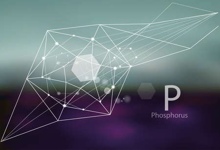 Phosphore. Une série d'oligo-éléments. Style moderne, abstrait avec des éléments polygonaux. Science, recherche, médecine, direction technogénique.
