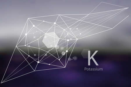 Potassium. A series of trace elements. Modern style, abstract  with polygonal elements.