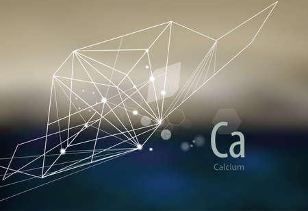 Calcium. Modern scientific research. Abstract structural network. The future is science. Chemistry, physics, medicine.