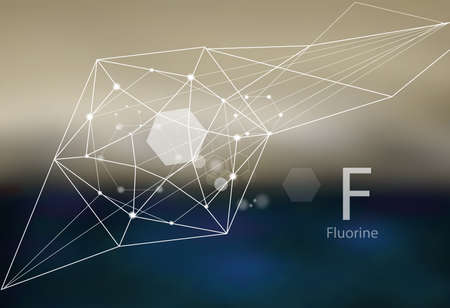 Fluorine. A series of trace elements. Modern style, abstract  with polygonal elements.