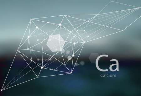 Calcium. A series of trace elements. Modern style, abstract background with polygonal elements. Science, research, medicine, technogenic direction.  イラスト・ベクター素材