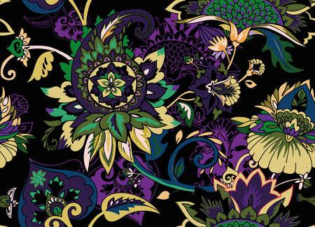 Paisley. Seamless Textile floral pattern with oriental paisley or buta ornament.  Ilustração