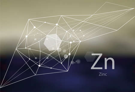 Zinc. A series of trace elements. Modern style, abstract background with polygonal elements. Science, research, medicine, technogenic direction.  イラスト・ベクター素材