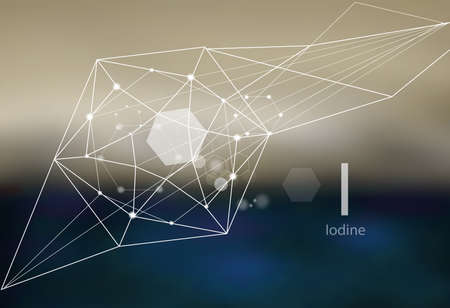Iodine. A series of trace elements. Modern style, abstract background with polygonal elements. Science, research, medicine, technogenic direction.  イラスト・ベクター素材