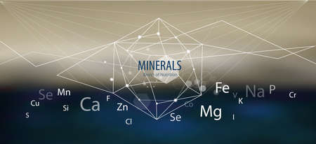 Minerals / Modern scientific research. Abstract structural network. The future is science. Chemistry, physics, medicine. 向量圖像