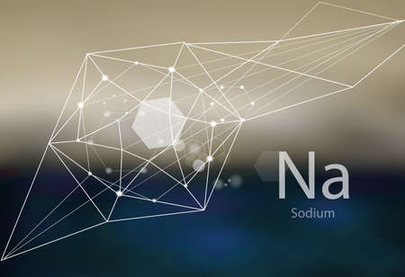 Sodium. A series of trace elements. Modern style, abstract background with polygonal elements. Science, research, medicine, technogenic direction.  イラスト・ベクター素材