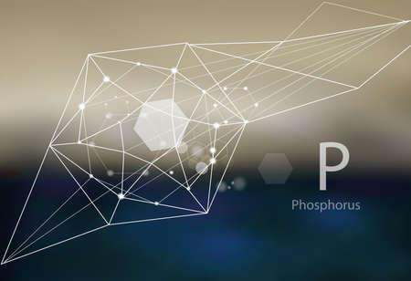 Phosphore. Une série d'oligo-éléments. Style moderne, abstrait avec des éléments polygonaux.