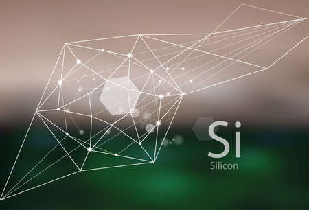 Silicon. A series of trace elements. Modern style, abstract background with polygonal elements. Science, research, medicine, technogenic direction.  イラスト・ベクター素材